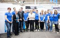 Deutschland, Hamburg, Bundeskanzlerin Angela Merkel besucht den Stand von Peace Counts auf dem Kirchentag, Freitag, 03.05.2013. (c) 2013 Julia Grudda / Zeitenspiegel